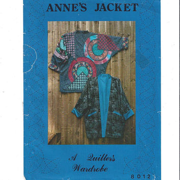 1990 Vintage Anne's Jacket Pattern, UNCUT, A Quilter's Wardrobe, Small to XLarge, Anne Colvin Design, Vintage Pattern, Quilting, Applique