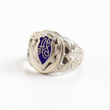 Vintage Sterling Silver Blue Enamel Signet Ring - Size 6 Monogrammed Initials AS or AF Retro Dated 1952 Shield Crest Emblem Repousse Jewelry