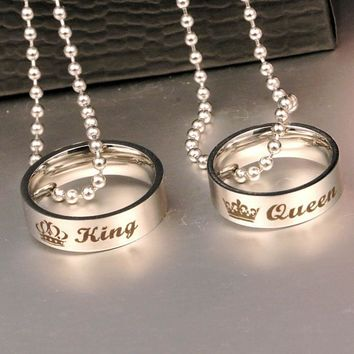 Cool Couple Holes Charm Link Chain Necklace  New Fashion Letter Carved King Queen Hole Pendant Necklace Lover Free ShippingAT_93_12