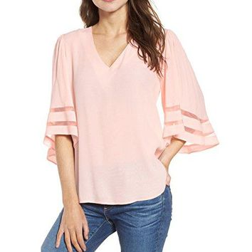 Shy Velvet Womens 34 Short Bell Sleeve V Neck Lace Patchwork Chiffon Blouse Casual Loose Shirt Tops