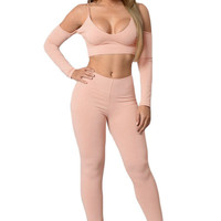 Nude Cut Out Shoulder Crop Top and Pant Set