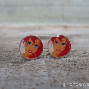 Ariel Sees Eric The Little Mermaid Sterling Silver Post Earrings 10mm