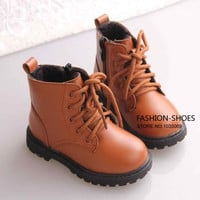 Top Brand Botas New 2014 winter boys girls boots PU leather children's boots Kids shoes Classic leather children martin Boots