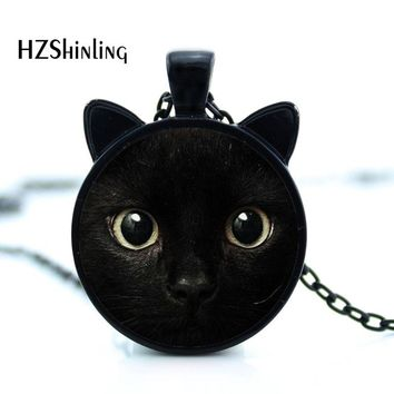 painting black cat  Necklace for pet lovers Cat Pendant with two ears