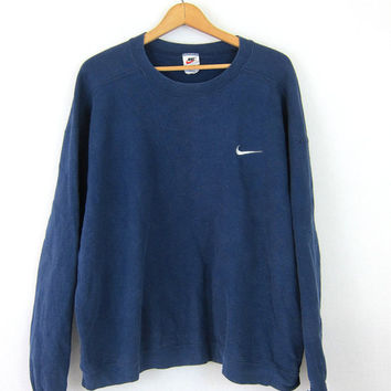 Navy Blue Nike Sweatshirt Washed Out Distressed Athletic Pullover Sweater Slouchy Cotton Faded Sports Sporty Prep Workout Top COED Size XL