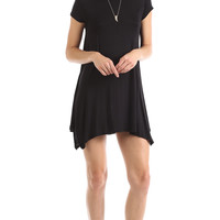 PANELED SHORT SLEEVE SWING DRESS - BLACK