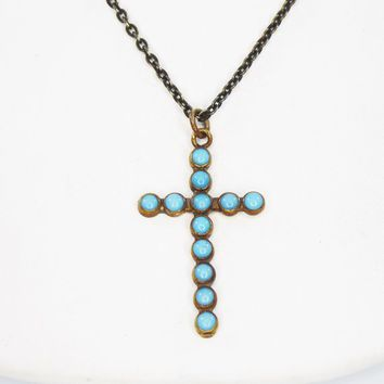 Turquoise Beaded Cross Pendant and Gold Tone Chain Necklace Christian Religious Art Deco Era Jewelry Vintage 1930s 1940s Aqua Blue Beads