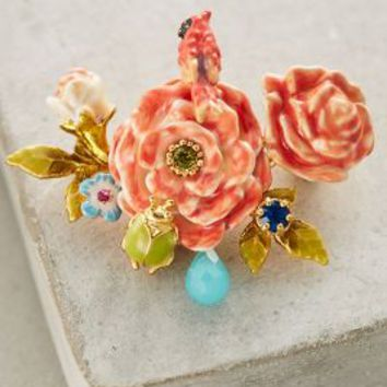 Les Nereides Gallica Rose Pin in Rose Size: One Size Accessories