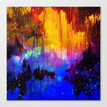 CASTLES IN THE MIST Magical Abstract Acrylic Painting Mixed Media Fantasy Cosmic Colorful Galaxy  Canvas Print by EbiEmporium