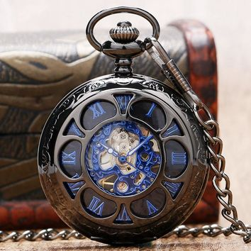 YISUYA Black Luxury Mechanical Pocket Watch Unisex Vinatge Hollow Flower Pendant Wind-up Watch Pocket Antique Gift Clock