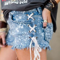 Tie Side Denim Shorts