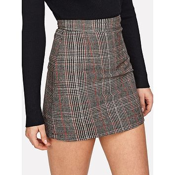 Multicolor Plaid Above Knee Sheath Skirt
