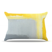 """CarolLynn Tice """"Inspired"""" Grey Yellow Pillow Case - Outlet Item"""