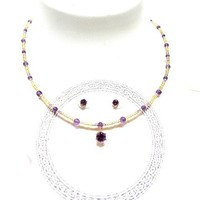 Fashion Jewelry Set Faceted Amethyst in 14kt Gold Fill Necklace and Earrings -- February Birthstone -- Handmade