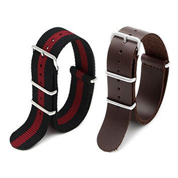 2pc 20mm Nato Ss Nylon Striped Black/red , Brown Leather Replacement Watch Strap Band