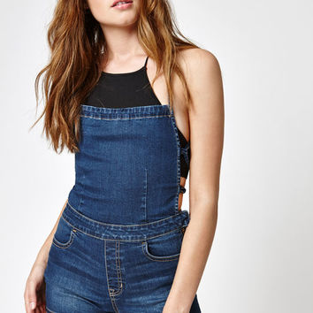 PacSun Crossed Blue Denim Shortalls at PacSun.com