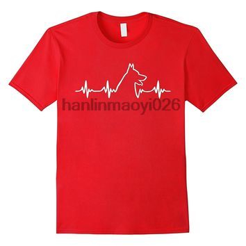 Lifeline German Shepherd Heartbeat Dog T-Shirt - Men's Tops