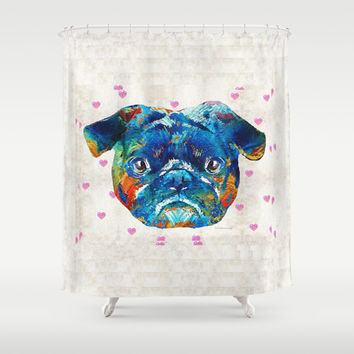 Pug Love Dog Art by Sharon Cummings Shower Curtain by Sharon Cummings