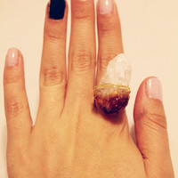 Raw Birth Stone Citrine Point Crystal Gold Wire Wrapped Ring