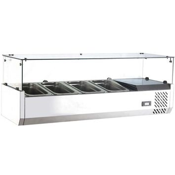 """Commercial Refrigerated Countertop Salad Bar Topping Rail with Sneezeguard 48"""""""