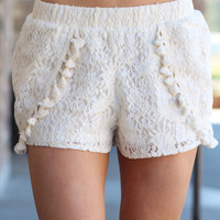 Open Up To Me Lace Crochet Shorts (Ivory)