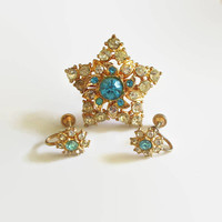 Star Jewelry Set, Rhinestone Brooch Pin & Matching Earrings, Retro, Costume Bridal Prom Jewelry, Fun!