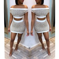 Women Sexy Two Piece Off The Shoulder Crop Top Mini Skirt Set