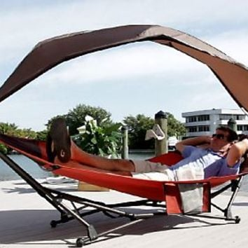 Barbara King Folding Hammock w/Adjustable Sun Shade — QVC.com