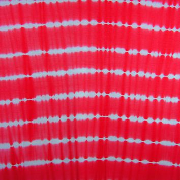 Tie Dye Fabric, Rayon Stretch Jersey Knit England Coral Color Print