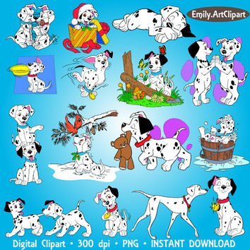 101 Dalmatians Clipart Party Disney Digital Clipart Set Clip Art Scrapbooking Invitations Printable Digital Graphic INSTANT DOWNLOAD 300dpi