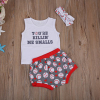 Fashion Newborn Infant Baby Clothing Sets Sleevless Vest+Shorts+Headband Baby Girls Summer Outfits 3pcs Set Toddler Clothes 1-6Y
