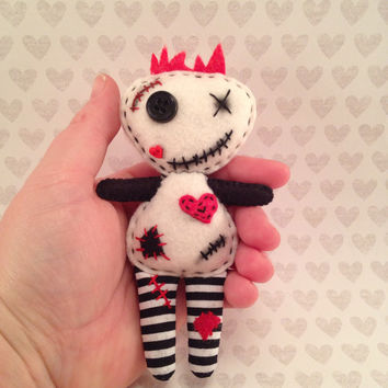 Voodoo Doll Mini with Red Heart and Black and White Striped Legs