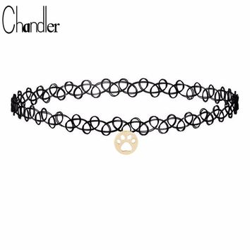 Chandler Black Tattoo Choker Necklace Dog Cat Paw Footprint Dangle Elastic Punk Gothic Torque For Girls Cheap Neck False Jewelry