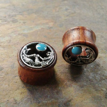 Wooden mermaid Tunnels Ear Plugs, Gauges, 12mm,14mm, 16mm, 18mm, 20mm, Body Piercing Jewelry