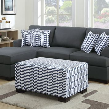 Poundex F7991-90 2 pc barbara ii collection slate black blended linen fiber fabric upholstered sectional sofa set with reversible chaise