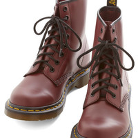 Dr. Martens Menswear Inspired, Vintage Inspired, 90s, Scholastic Playing Air Guitar Boot in Rouge