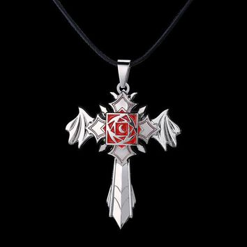 Vampire Knight Rose Metal Cross Anime Necklace