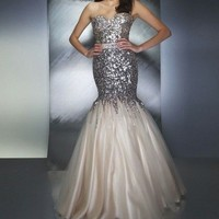 Stock New Paillette Lace Mermaid Prom Pageant Dresses Evening Gowns Size2 4 6+++