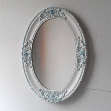 Large Antique White Mirror in Oval Wood Frame, Shabby Chic Home, Nursery Mirror, Bathroom Mirror