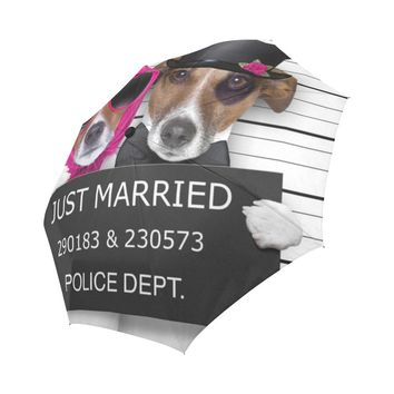 Couple of Newlywed Just Married of Dogs Auto-Foldable Umbrella