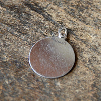 Vintage Round Charm Pendant JB Sterling Silver Flat Plain Blank Engravable Mother's Day Gift 1960's // Vintage Sterling Silver Jewelry