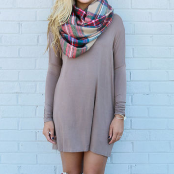 Time Well Wasted Taupe Long Sleeve Shift Dress
