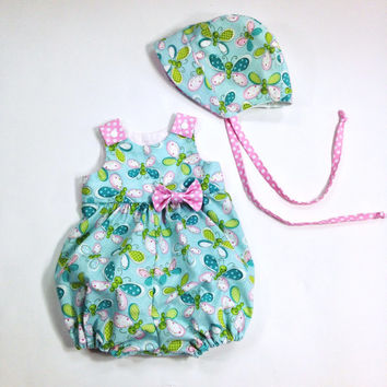 9 to 12 month girls romper baby romper and baby bonnet summer romper bubble romper butterfly fabric blue and pink romper baby sun bonnet