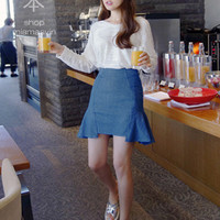 Ruffled Sides Skater Skirt - Miamasvin loves u! Womens Clothing. Korean Fashion.