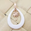 925 Silver Pink Rose Gold Hawaiian Palm Tree White Ceramic Tear Drop Pendant