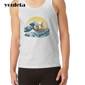 New fashion Men cartoon printed Vest o-neck male ONE PIECE  tank tops funny cool hipster singlets