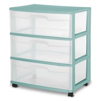 Sterilite 3 Drawer Wide, Aqua Ocean, Single - Walmart.com