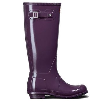 Hunter Original Tall   Gloss Purple Tall Rain Boot