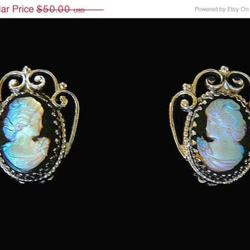 MY BIRTHDAY SALE Vintage, Whiting Davis, Silver-Tone Plated, Onyx Glass, Iridescent, Cameo, Clip-on Earrings