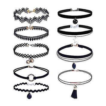 Outee 9 Pieces Black Velvet Chokers Necklaces, Stretch Tattoo and Black Bead Chokers Necklaces